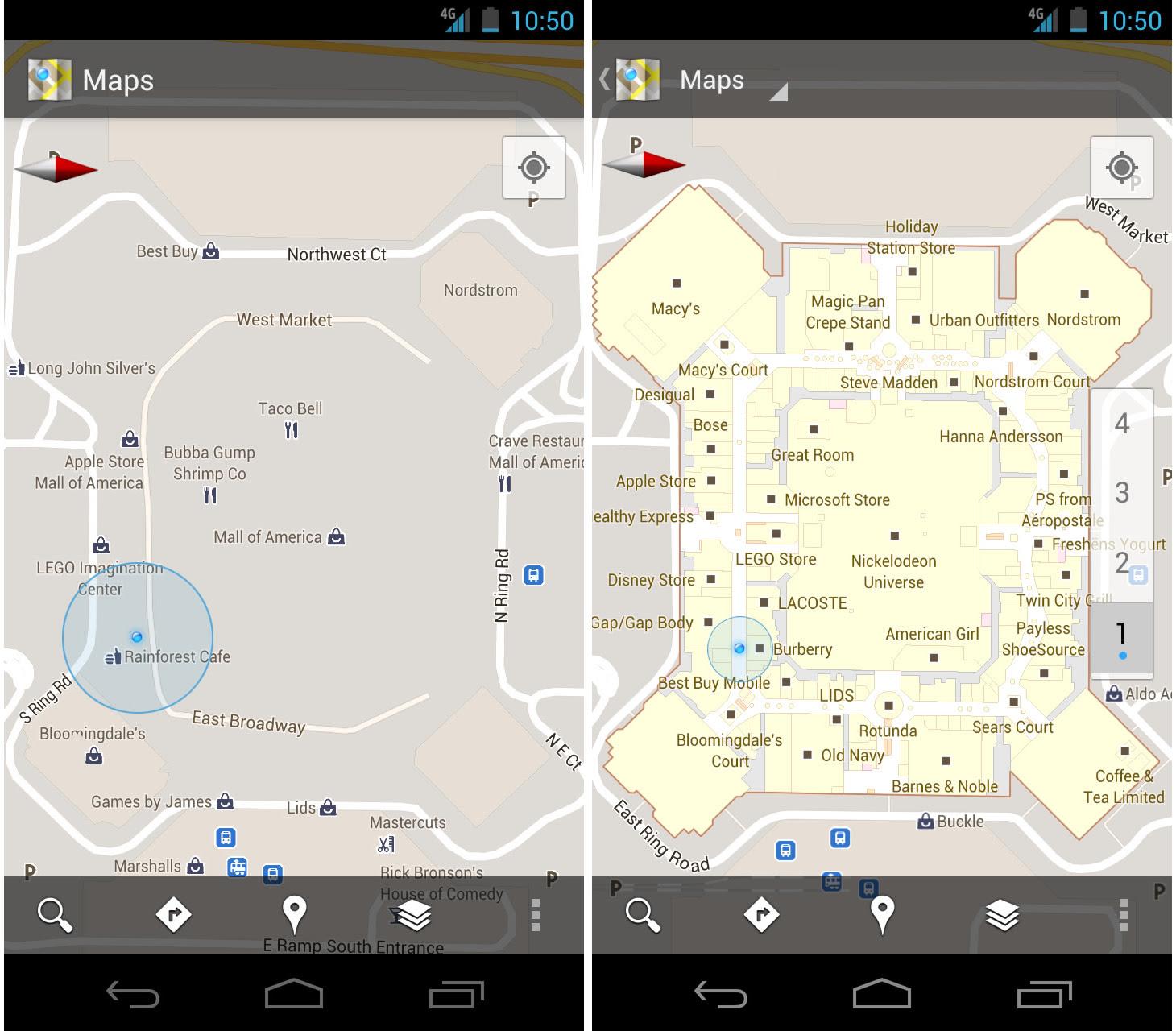 Novo Google Maps no Android, antes e depois (Foto: Divulgação)