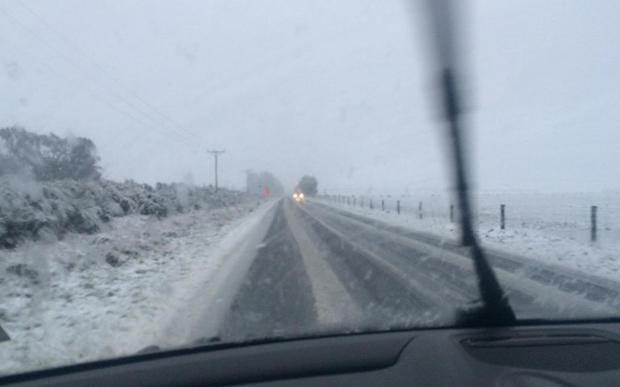 Snow on road between Ashburton and Methven on Thursday.