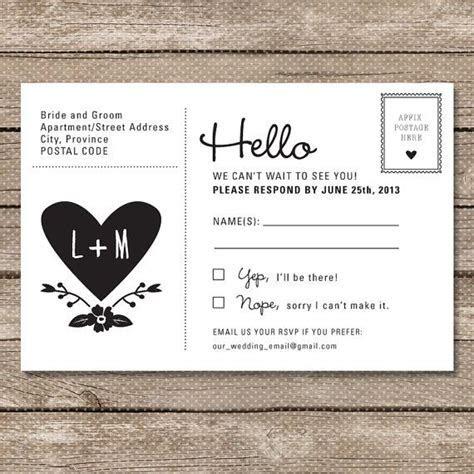 Wedding RSVP Postcard   Printable PDF   Garden Whimsy