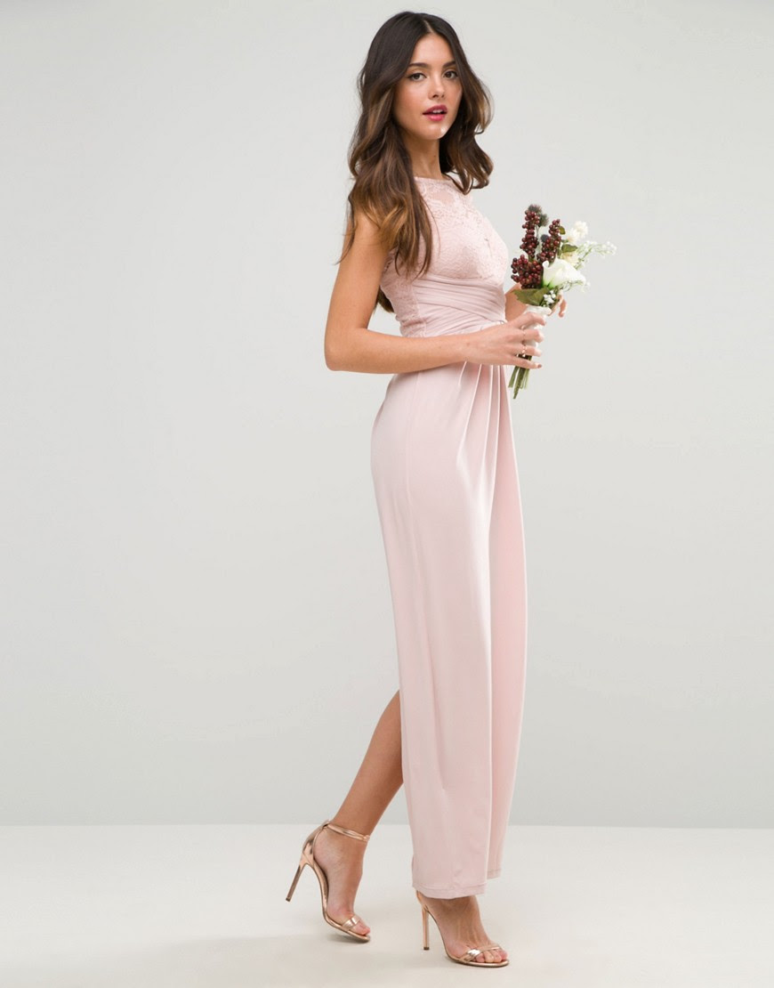 Image 1 of ASOS WEDDING Lace Top Pleated Maxi Dress