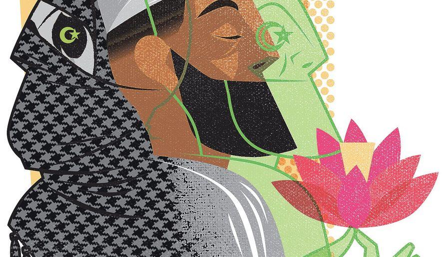 Illustration on tolerant and radical Islam by Linas Garsys/The Washington Times