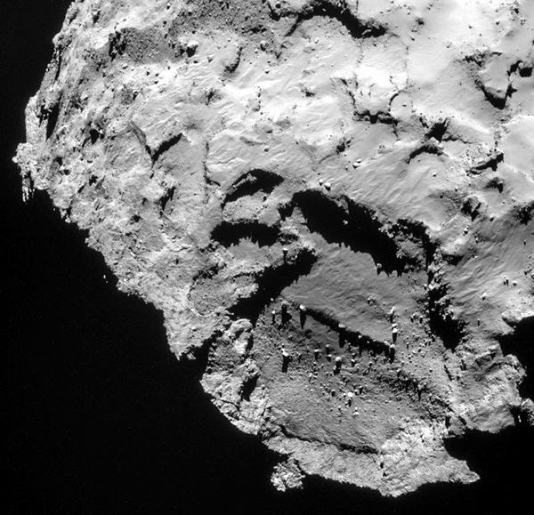 An image of Philae's landing site on Comet 67P/Churyumov–Gerasimenko, known as Site J, as seen by the Rosetta spacecraft on September 21, 2014.