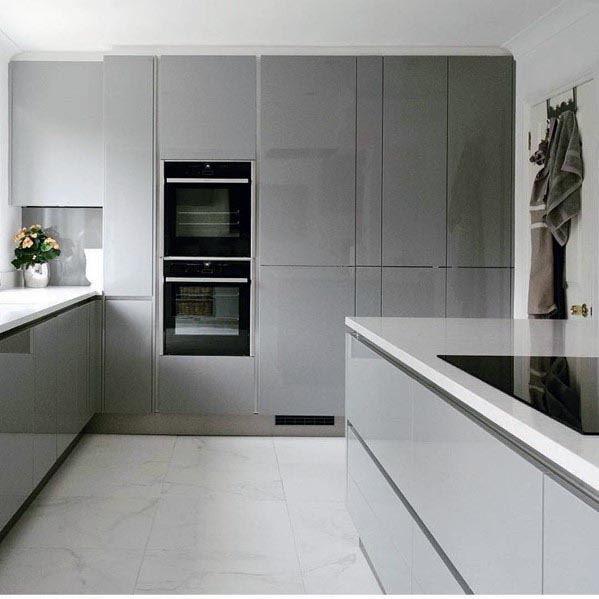 Home Architec Ideas White And Grey Kitchen Interior Design