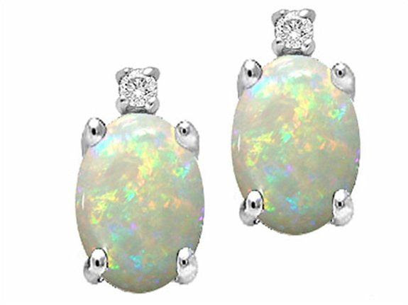 Tommaso Design Oval 8x6mm Genuine Opal Earrings White Gold