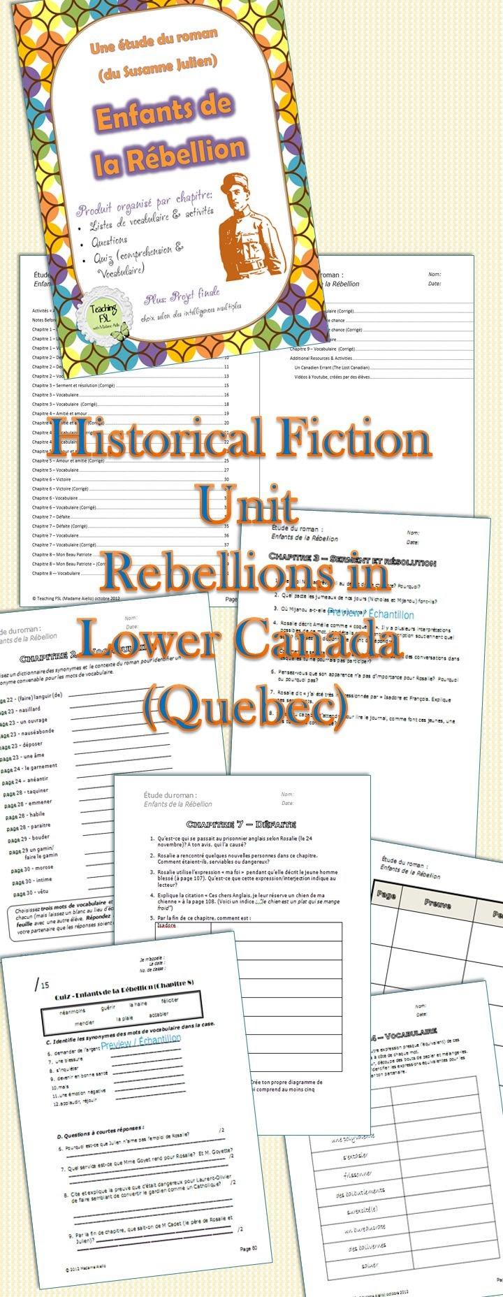 """Pre-Reading Activity for """"Enfants de la rébellion"""""""