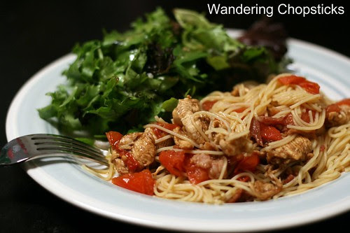 Angel Hair Pasta with Balsamic Chicken, Bacon, and Diced Tomatoes 2