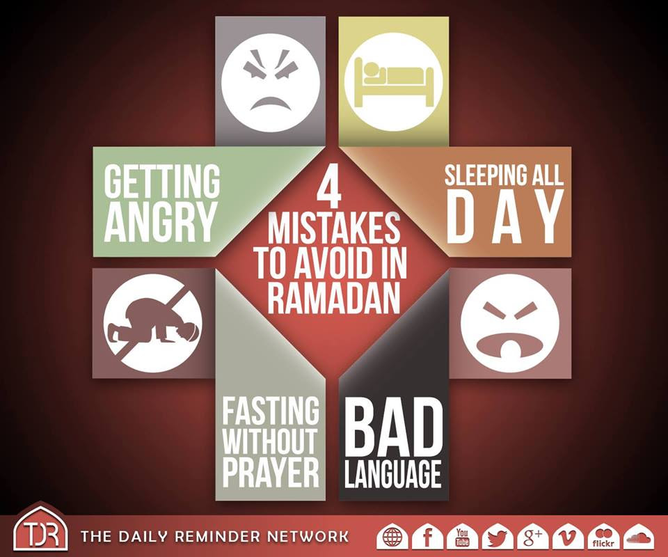 4 mistakes to avoid in ramadan