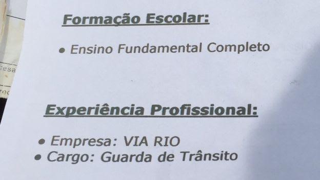 Trecho do currículo de Ronaldo Nascimento
