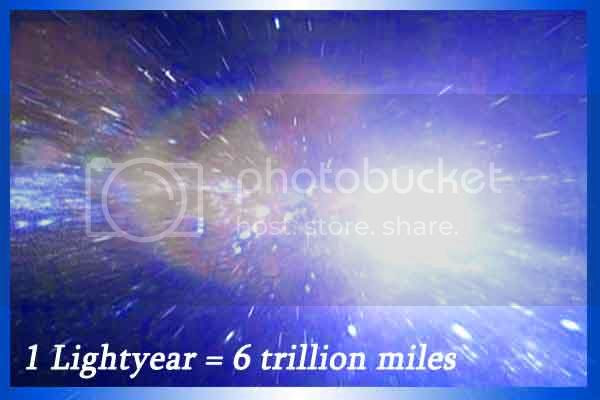 Light year is the distance light travel in one year. 1 light years = 6 trillion miles