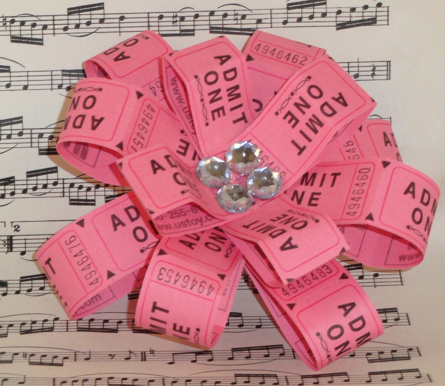 PINK tickets hair clip Flower barette - styling retro fun diamond gems jewlery girls woman
