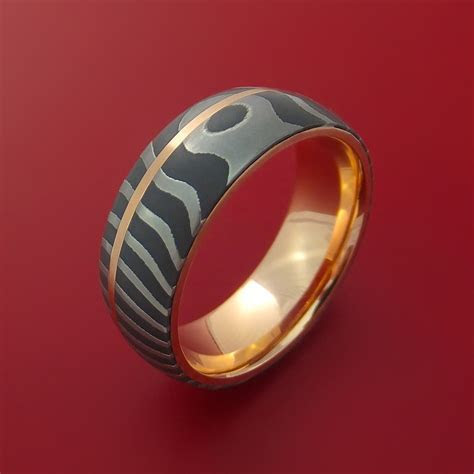 Damascus Steel Tiger Pattern 14K Rose Gold Ring Wedding