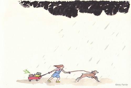 Raincloud and girl