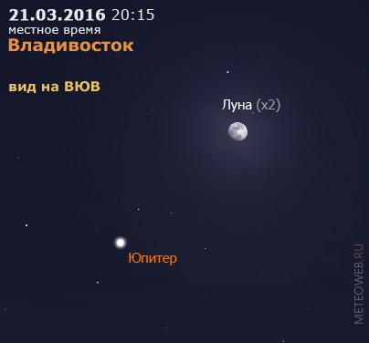 Растущая Луна и Юпитер на вечернем небе Владивостока 21 марта 2016 г.