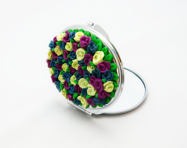Unique floral Pocket Mirror, Flowers Polymer clay Pocket Mirror, Metal Pocket Mirror, handmade - JEWELRYandPLEASURE