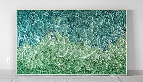 on edge canvas strip art piece in blues and greens