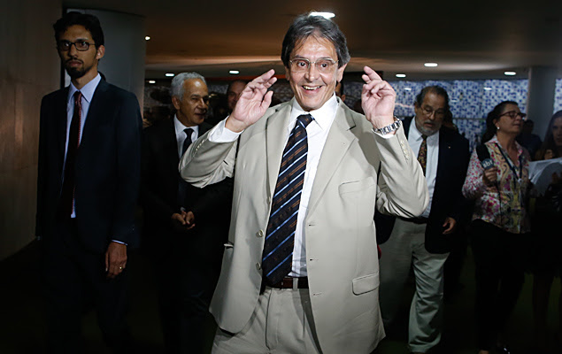 O ex-deputado Roberto Jefferson, delator do mensalão, no Congresso Nacional, em Brasília (DF).