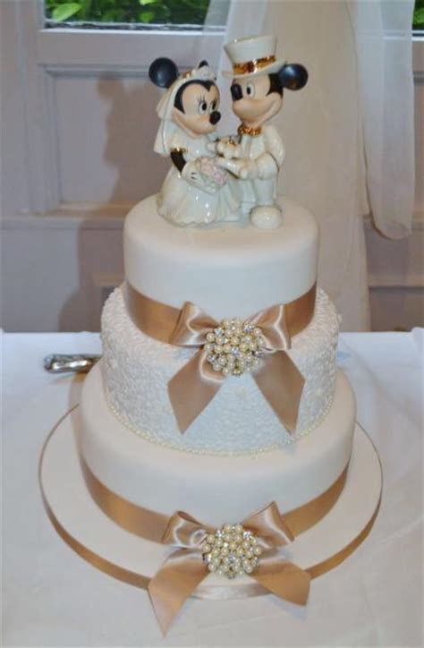 3 Tier Wedding Cake with Mickey & Minnie Mouse Topper
