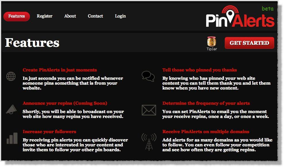 Pinterest tool Pinalerts