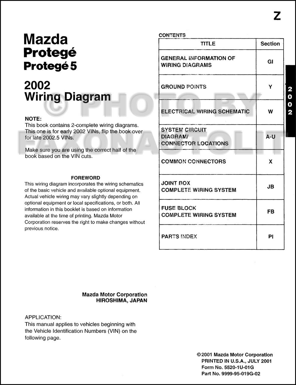 Mazda Protege Diagram Wiring Schematic