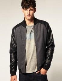 Asos Faux Leather Sleeve Baseball Jacket