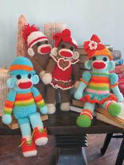 Sock Monkey Twins Crochet Pattern
