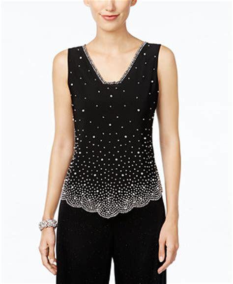 msk sleeveless embellished blouse tops women macys