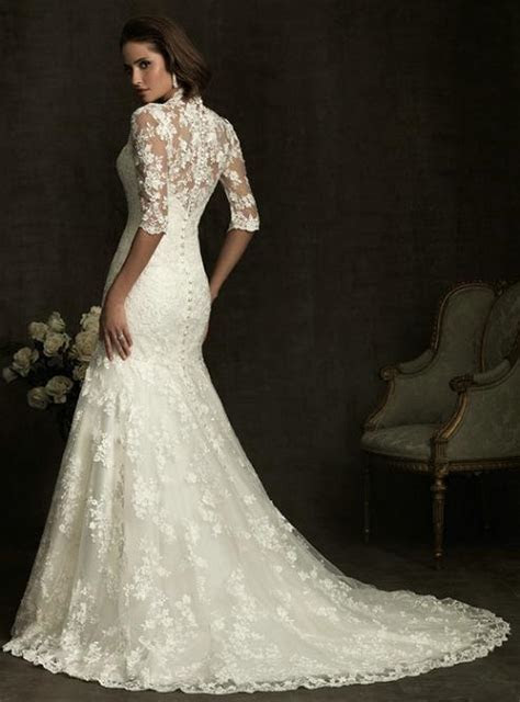 Elegant Lace Fit and Flare Wedding Dress, a vintage look