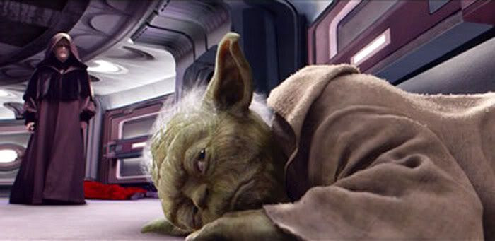 Regaining consciousness, Yoda is moments away from launching a counterattack against Darth Sidious.