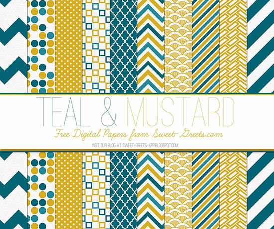 Teal and Mustard Papers Package