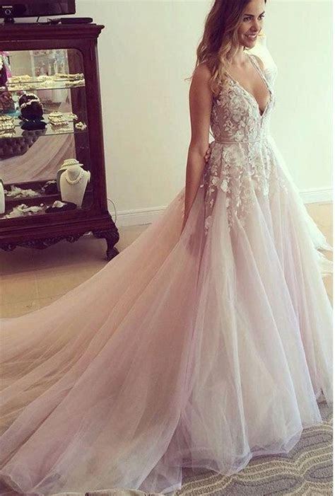 A line Sexy Open Back Blush V neckline Lace Wedding Dress