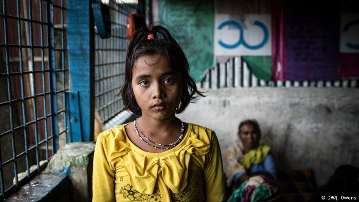 Rohingya girl in a shelter