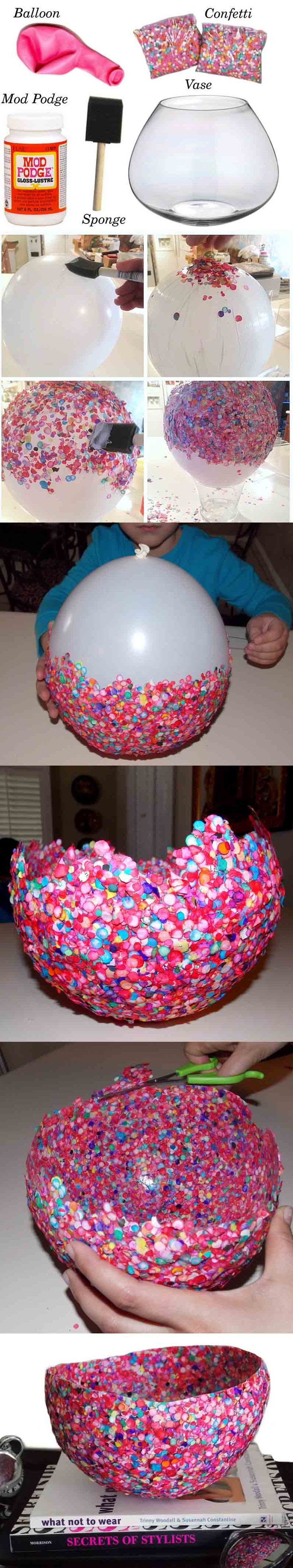 bol de confeti DIY ingenioso
