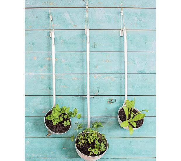 """Está com vontade de criar uma hortinha em casa, mas não tem espaço? O que acha de tirar a concha de sua função tradicional e pendurá-la como uma """"horta portátil""""? A sugestão é plantar ervas que, depois, poderão ser usadas na cozinha. (Foto: Elisa Correa/Casa e Comida)"""