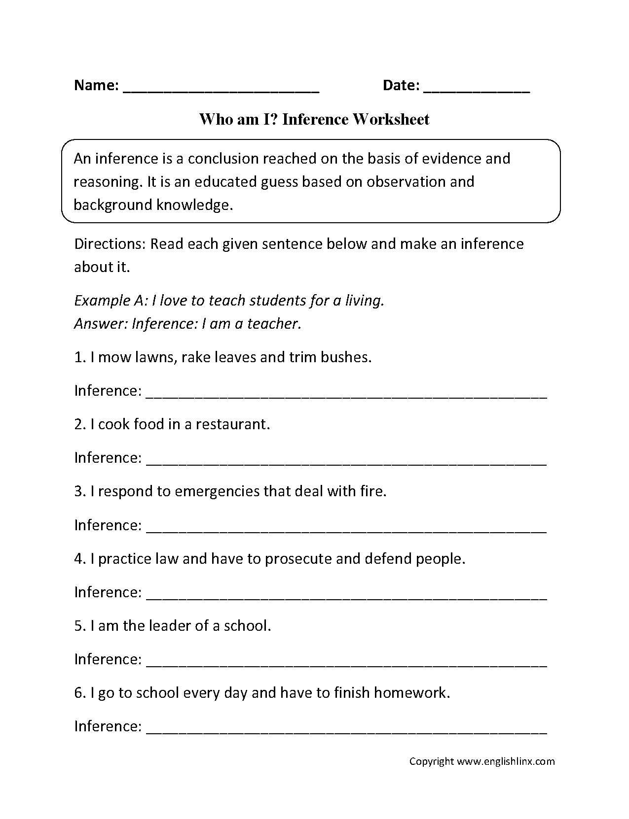 Reading Worksheets Inference Worksheets