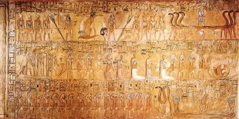 The ninth hour from the tomb of Tausert and Setnakht showing the battle with Apophis and the punishment of the sun god's enemies