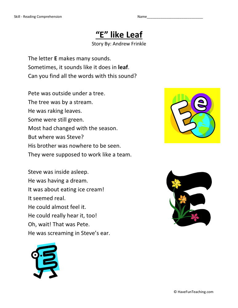 Printables. E Reading Worksheets. Mywcct Thousands of Printable Activities