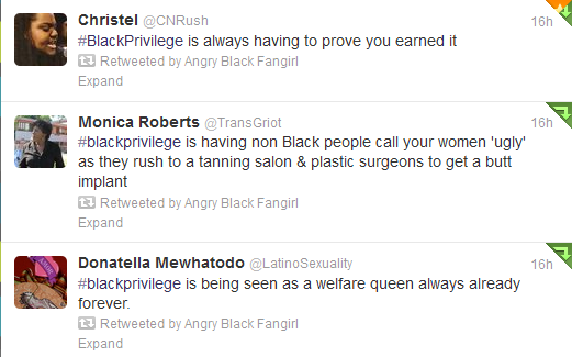 alxsbnn:  brashblacknonbeliever:  A few gems from the #BlackPrivilege tag on twitter.  Wow, white folks take notes.