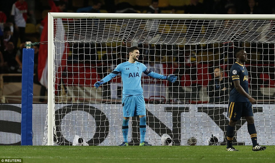 Hugo Lloris gestures at his defence after Thomas Lemar was left unmarked in the penalty area to fire the winner for Monaco