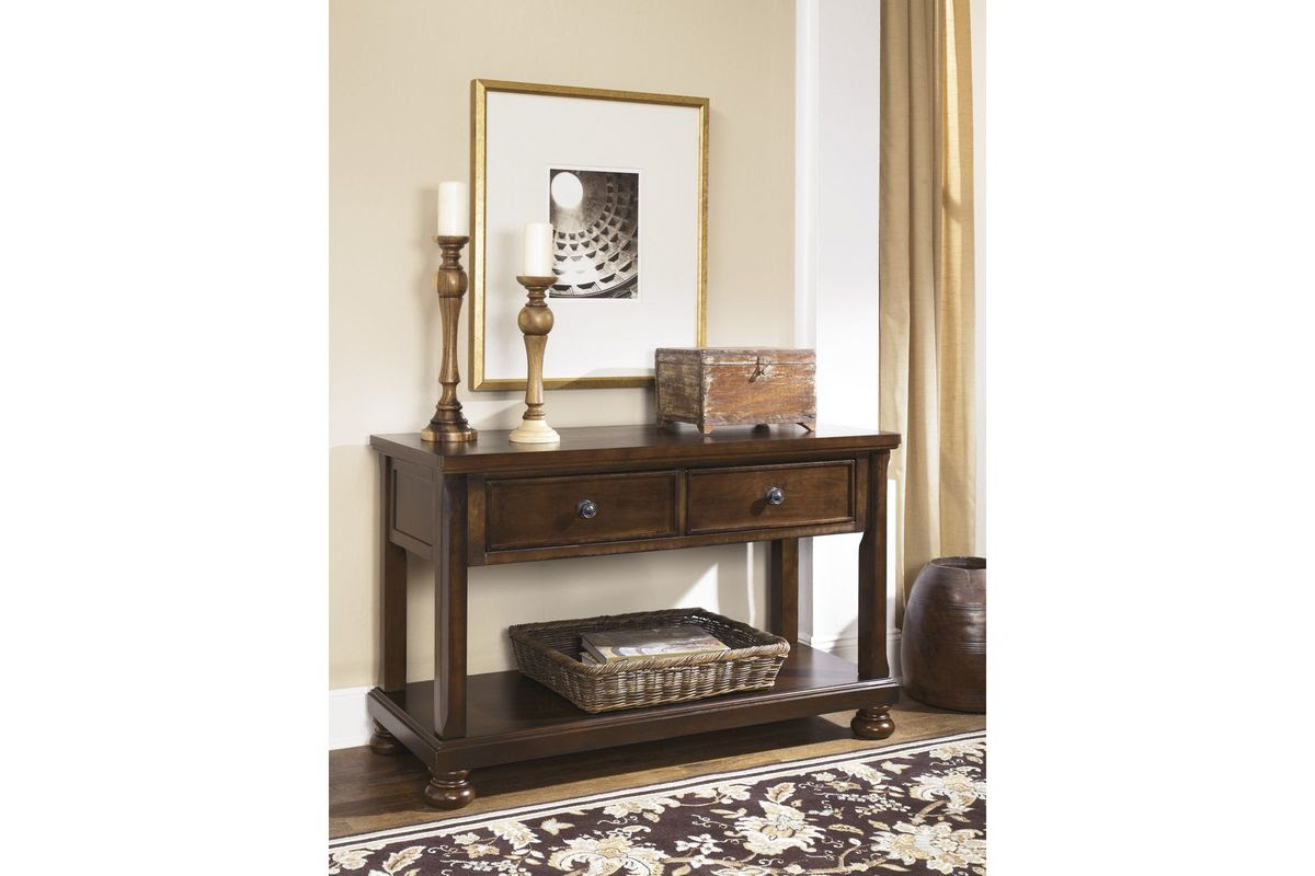 Porter Console Sofa Table in Rustic Brown by Ashley at ...