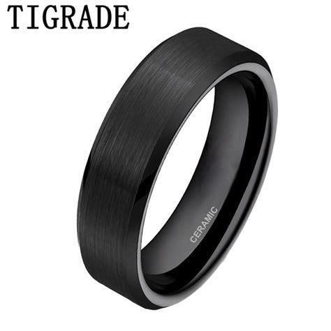 TIGRADE 6mm Black Brushed Brand Ceramic Ring Men Wedding