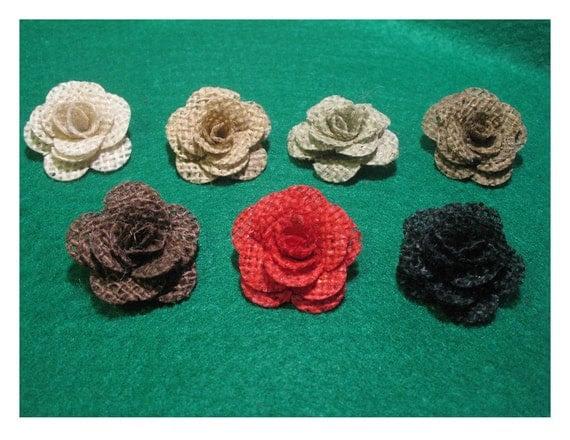 6 mini Burlap Roses - choice of colors