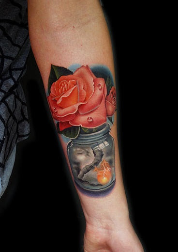 Beauty After Storm Rose In Can Tattoo By Andres Acosta Best Tattoo