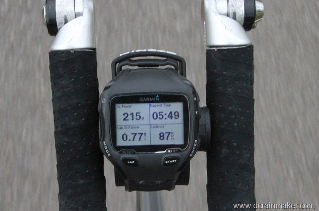 Garmin FR910XT on bike aerobars with bike mount