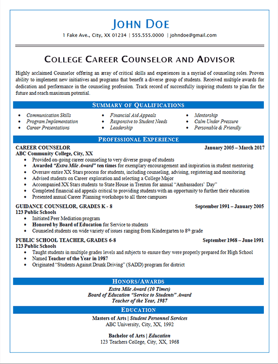 1716 resume career counselor