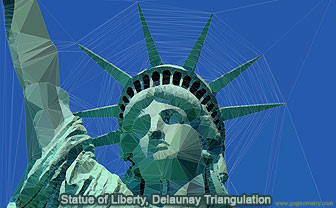 Statue of Liberty & Delaunay Triangulation. iPad App: Trimaginator