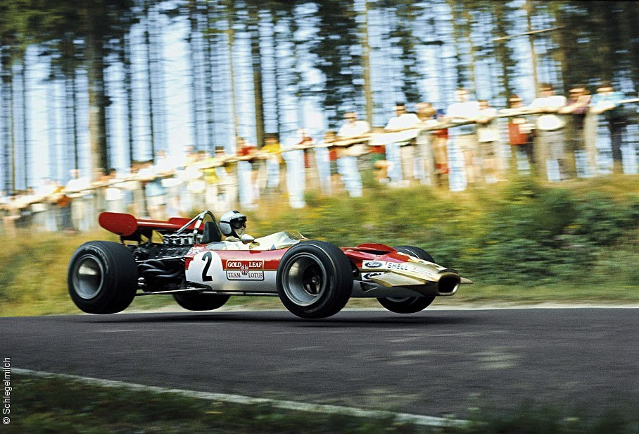 Jochen Rindt making the jump in 1969