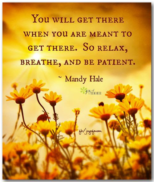 You will get there when you are meant to get there.  So relax, breathe, and be patient. ~ Mandy Hale <3 More beautiful inspiration at Joy of Mom! <3 https://www.facebook.com/joyofmom  #inspirationalquotes #relax #breathe #patience #joyofmom