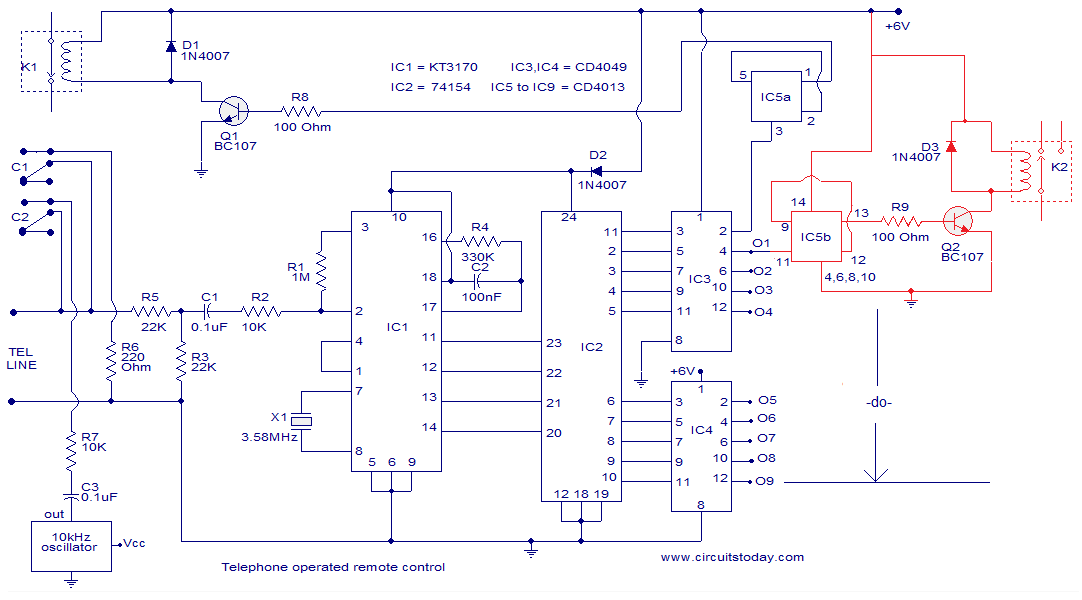 telephone operated remote circuit