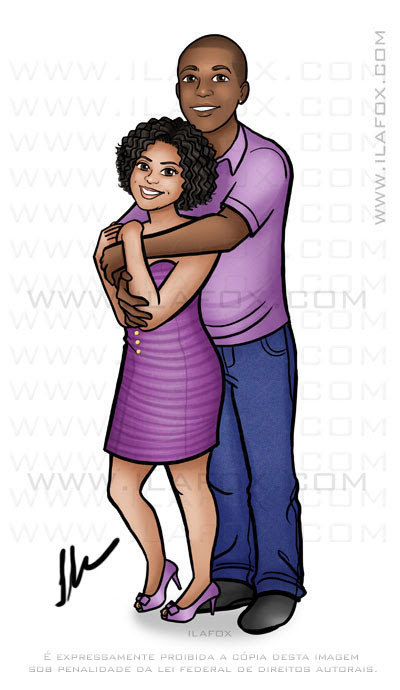 Caricatura casal, caricatura corpo inteiro, caricatura casal abraçado, caricatura casal negro, by ila fox