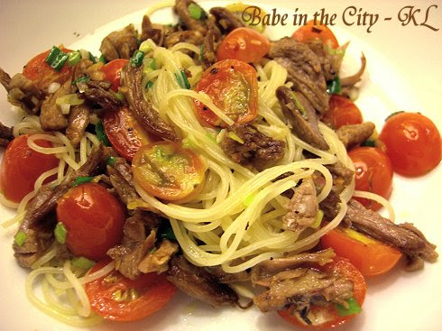 Roasted Duck and Baby Tomatoes Angel Hair Pasta